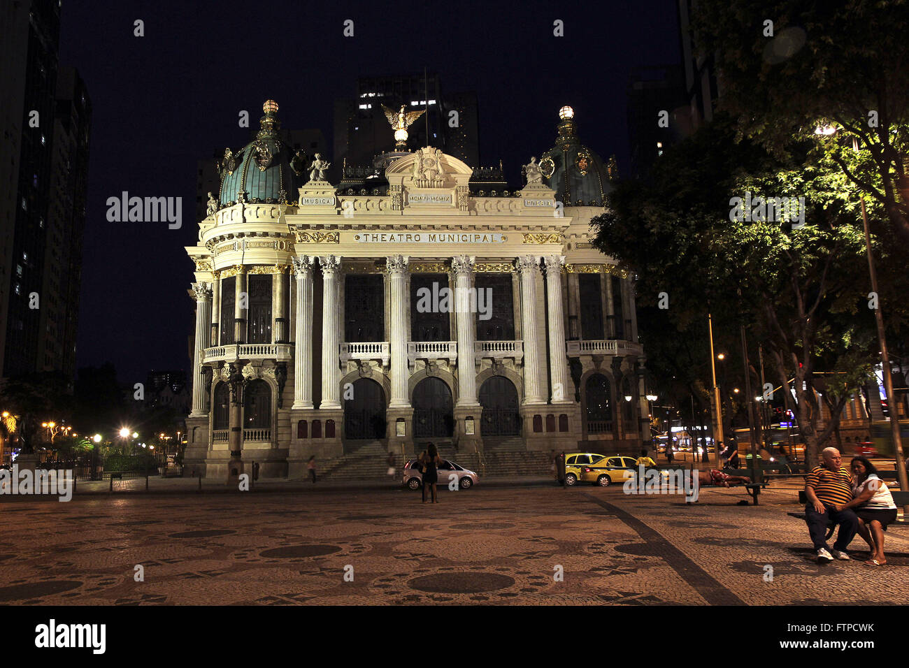 Municipal Theater of Rio de Janeiro at night - opened in 1909 - Stock Image