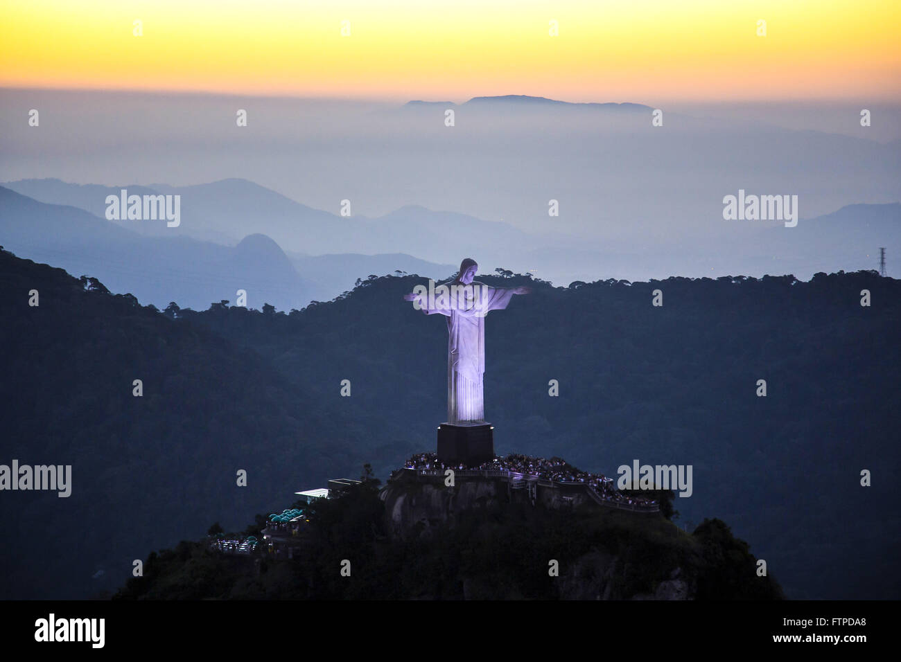 Aerial view of Christ the Redeemer on Corcovado Mountain at dusk Stock Photo