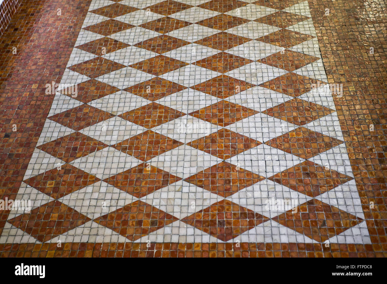 Detail of the floor tiles in the Instituto Moreira Sales - IMS - Stock Image