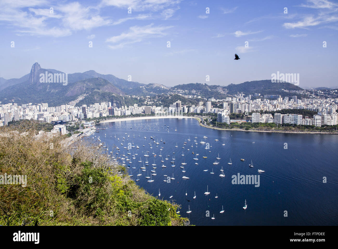 View of Botafogo Bay with the Corcovado Mountain in the background from the Morro da Urca Stock Photo