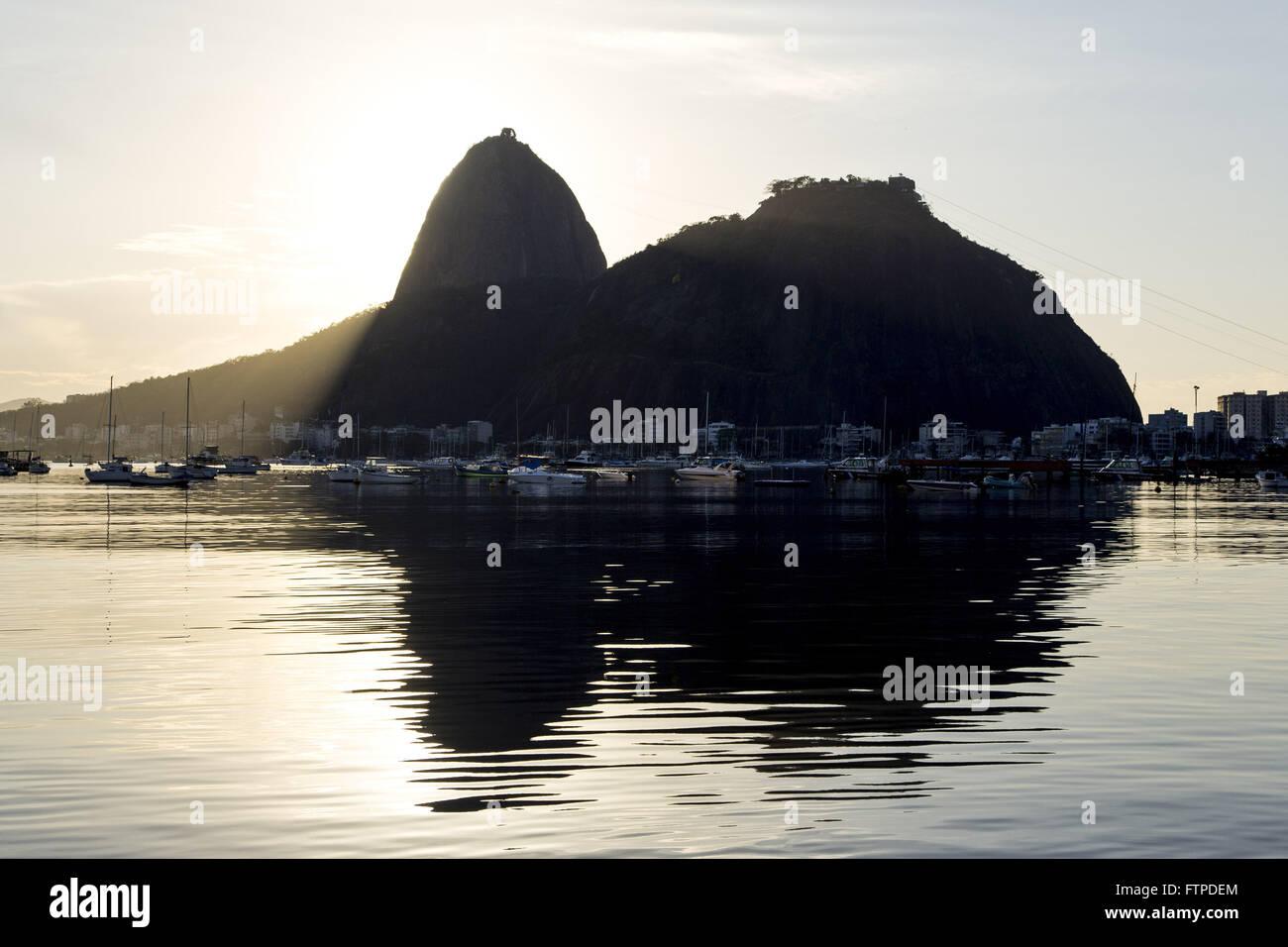 Dawn in Botafogo Bay with Morro do Pao de Acucar and Morro da Urca in the background Stock Photo