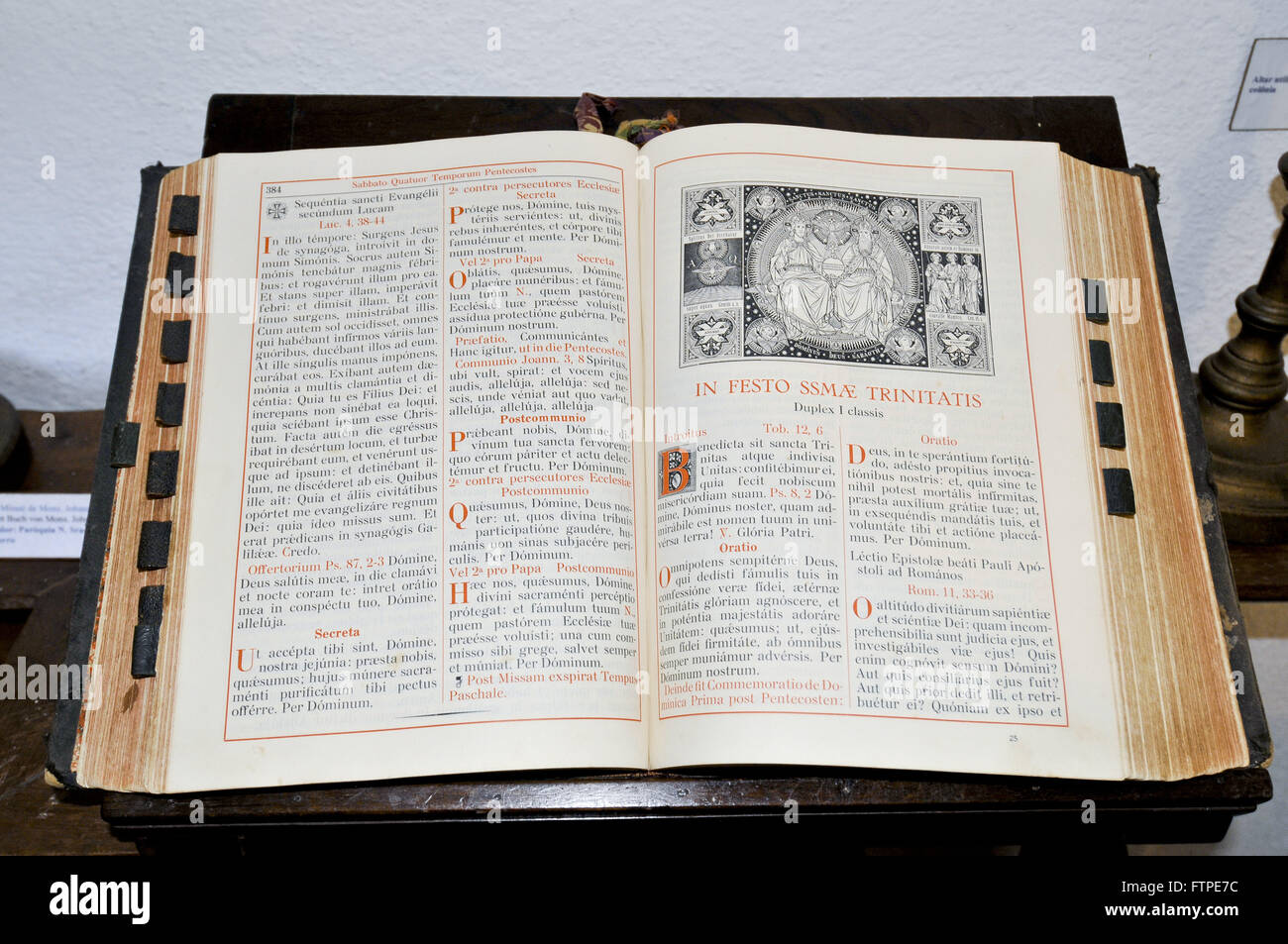 Bible written in Latin in the exhibition Little Castle - Municipal Museum Andreas Thaler - Stock Image