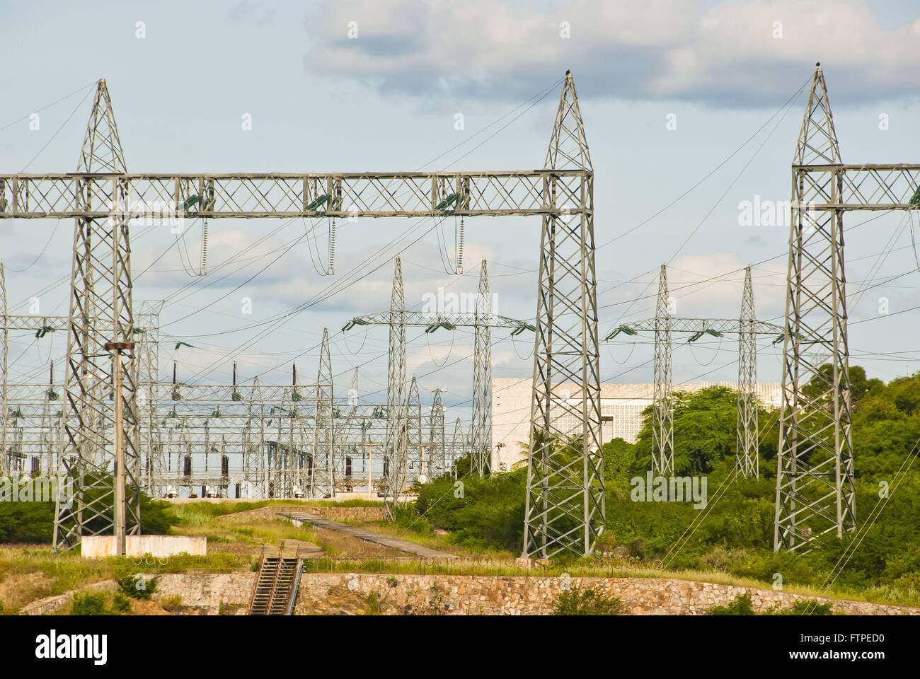 Chains of transmission of energy from Paulo Afonso Hydroelectric Complex - Stock Image