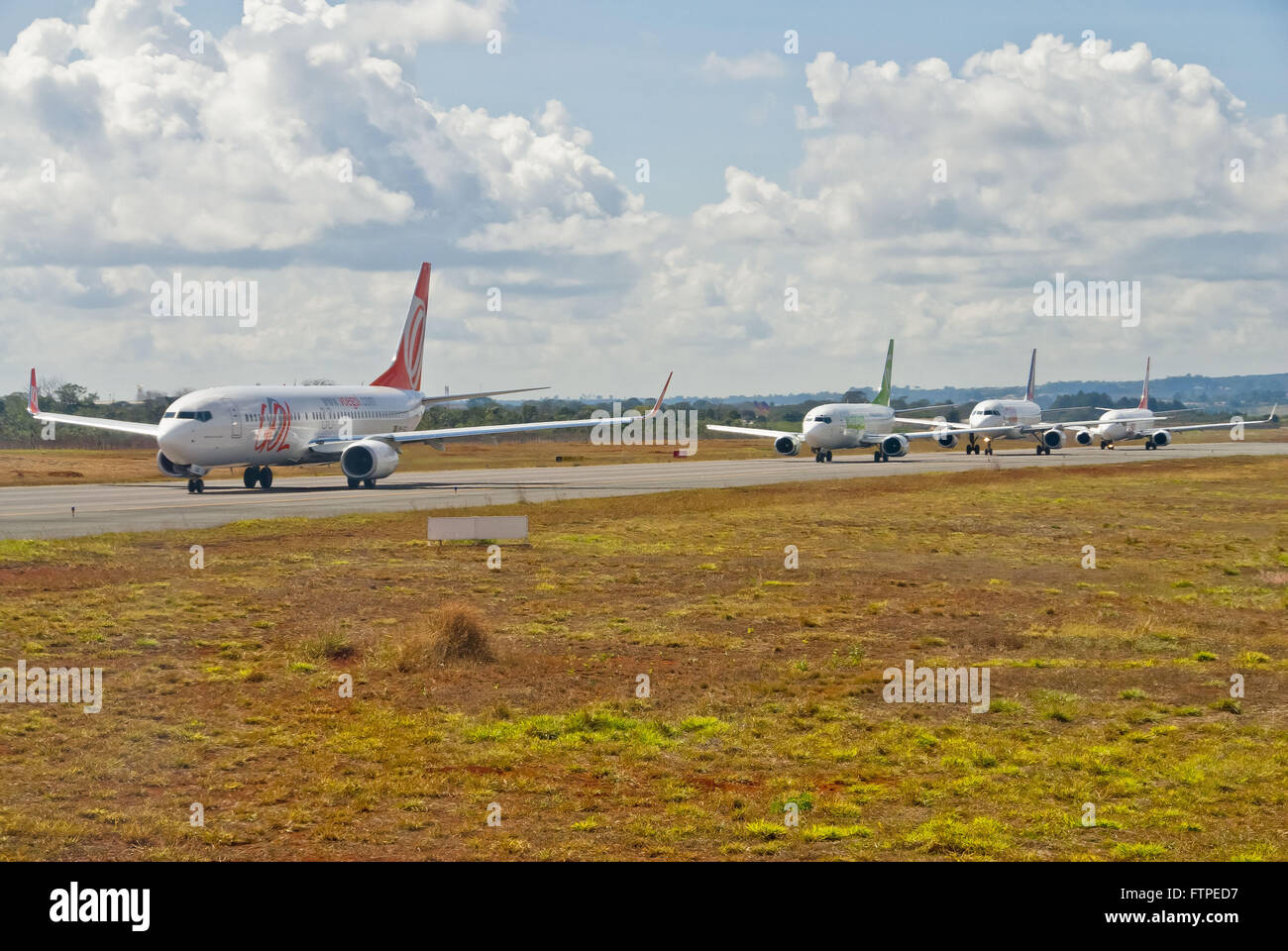 Congestion of planes in Brasilia International Airport - Stock Image