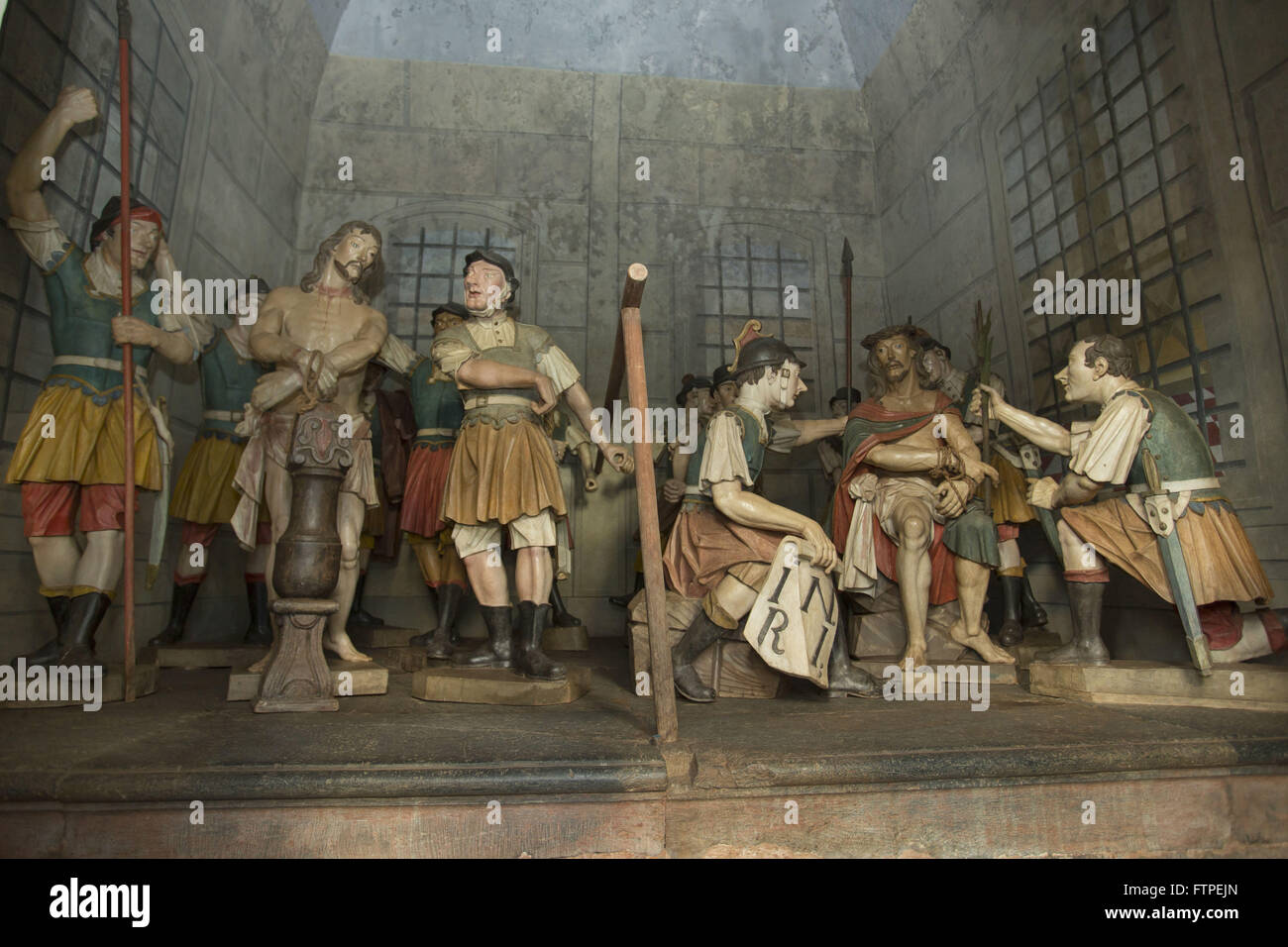 Step flogging and Coronation of Jesus Christ - the life-size sculptures in cedar - Stock Image