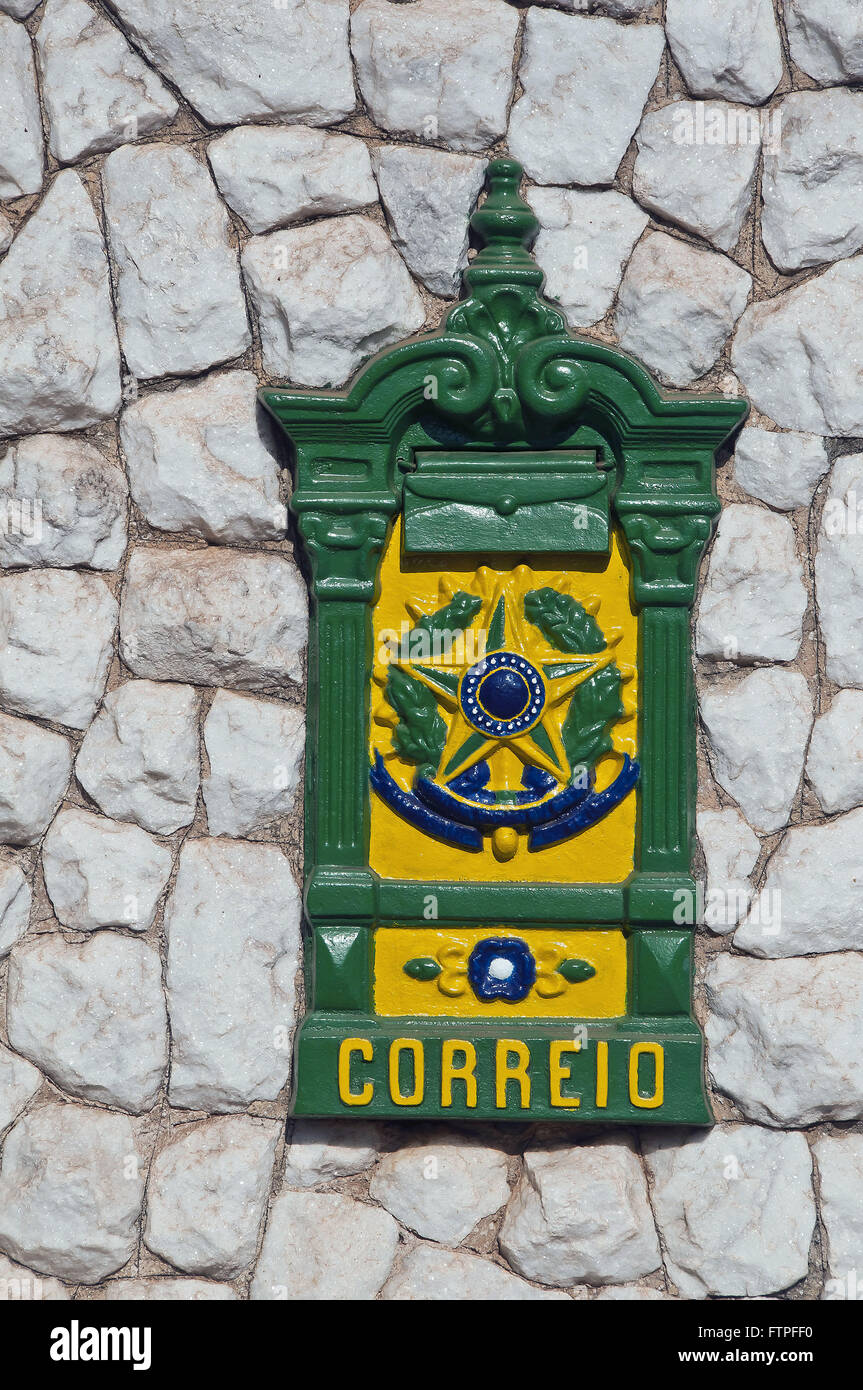 Mailbox with Coat of Brazil and the colors of the Brazilian flag - Stock Image