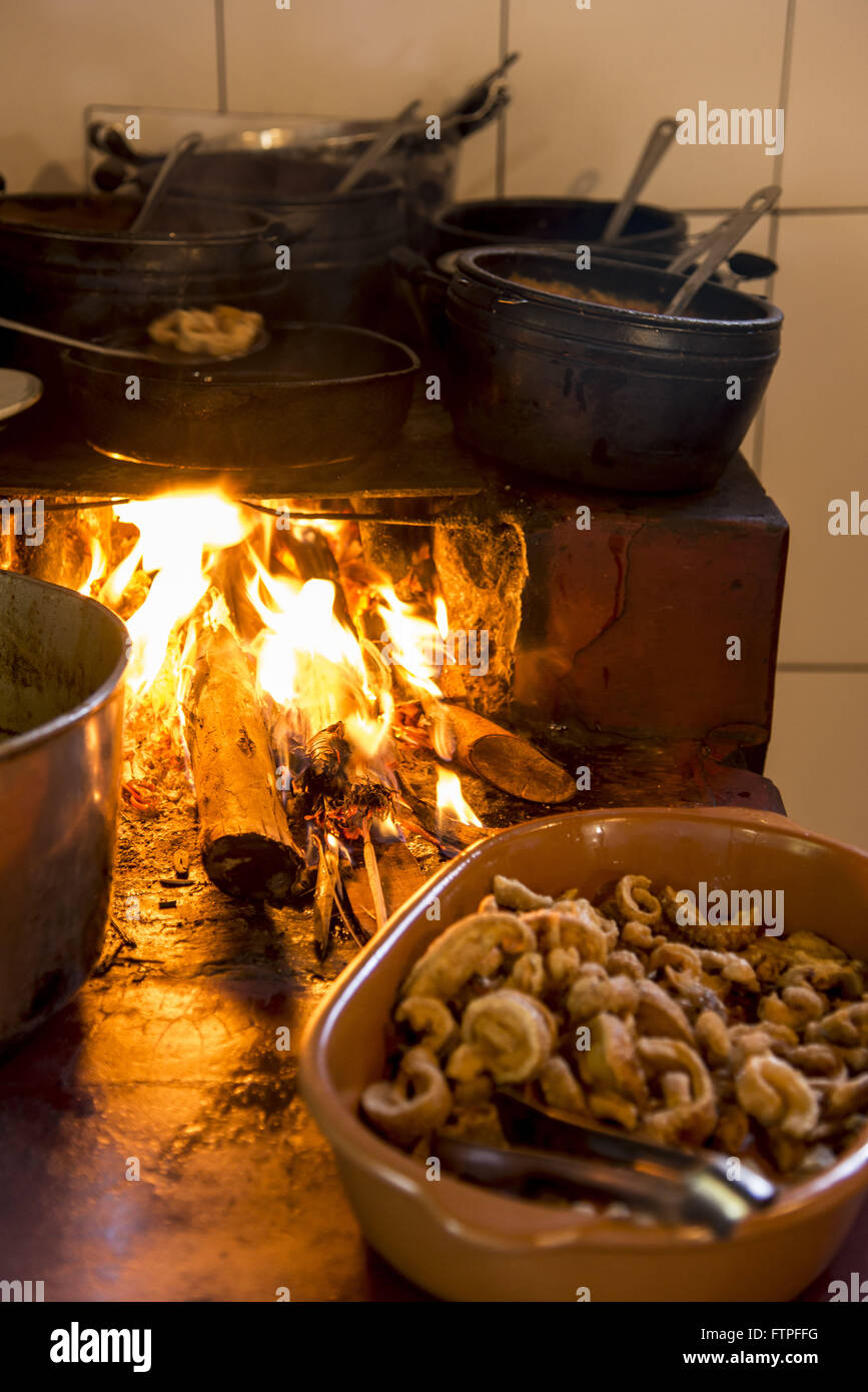 Local food made in wood stove - Stock Image