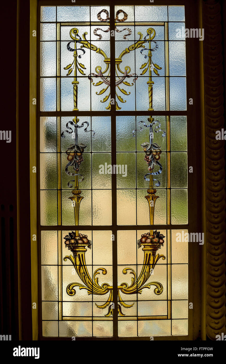 Detail of stained glass in the lobby of the Hydrotherapy Balneario Parque das aguas - Stock Image