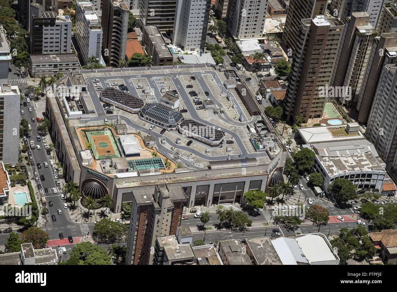 Aerial view of Shopping Center - Neighborhood Lourdes - Stock Image