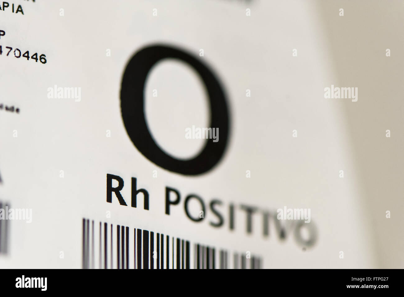 Barcode blood bag - Stock Image