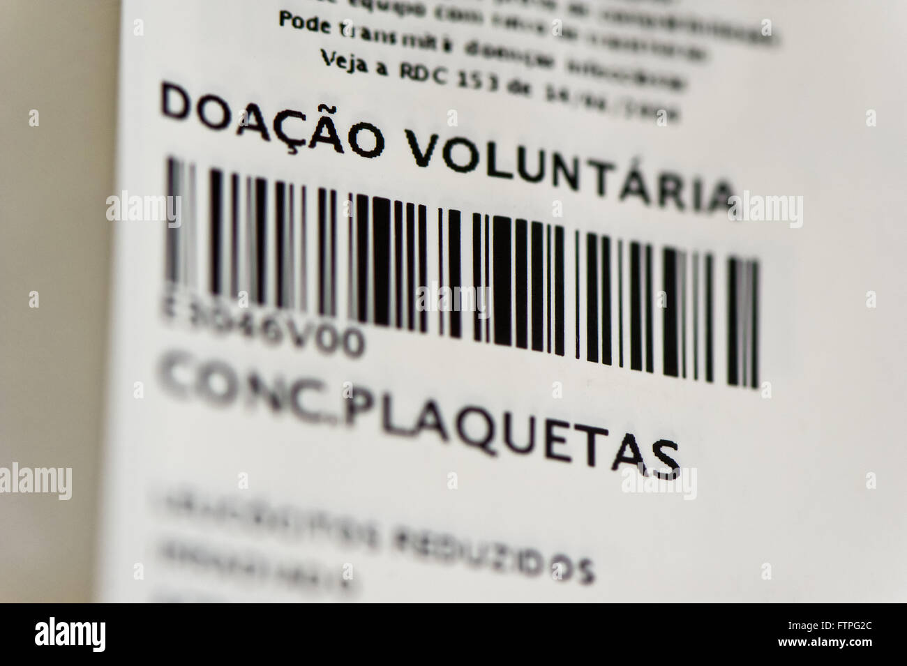 Barcode platelet bag - Stock Image