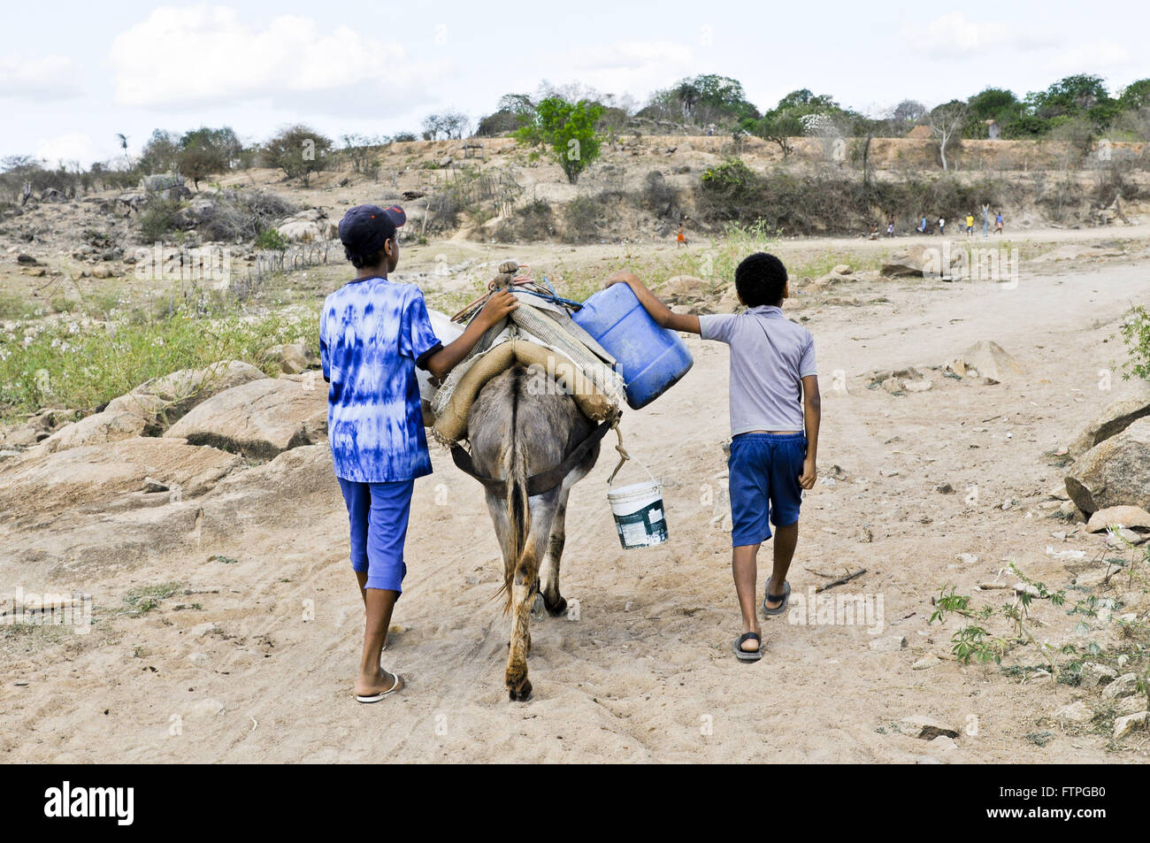 Children carrying water on donkey in rural town in Mulungu Stock Photo