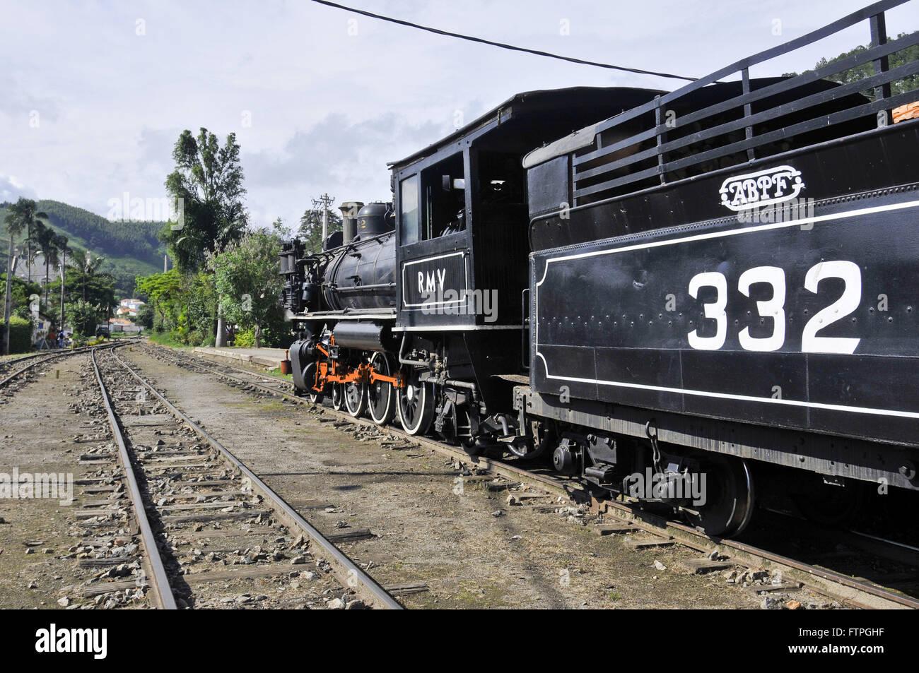 Railway locomotive 332 in the ABPF - Brazilian Association of Railway Preservation - Stock Image