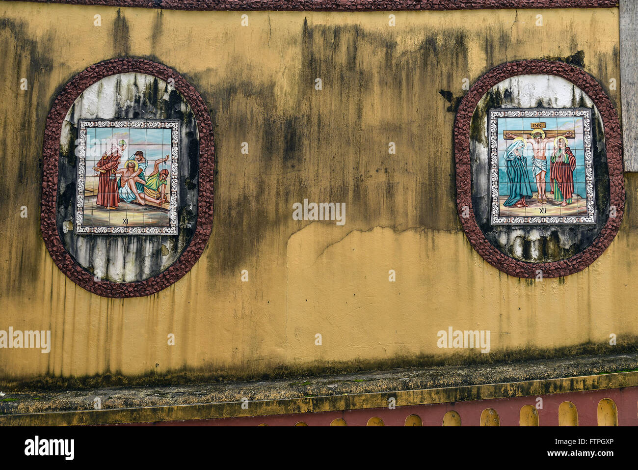 Wall tile depicting the Stations of the Cross in Church of Our Lady of Conceicao - Stock Image