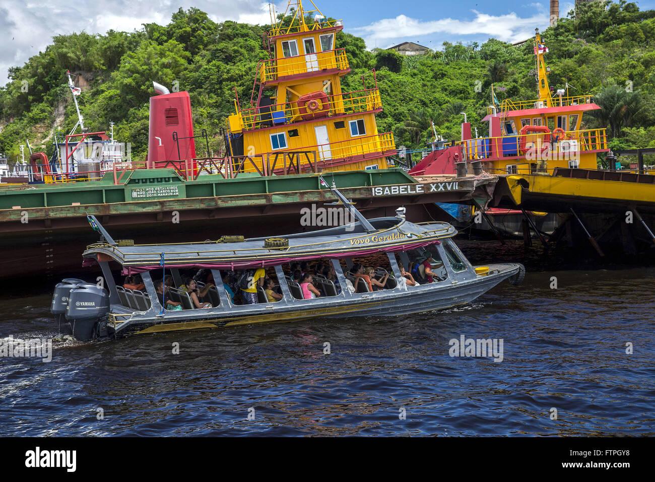 Passenger vessel in the port of Ceasa - Rio Negro - Stock Image