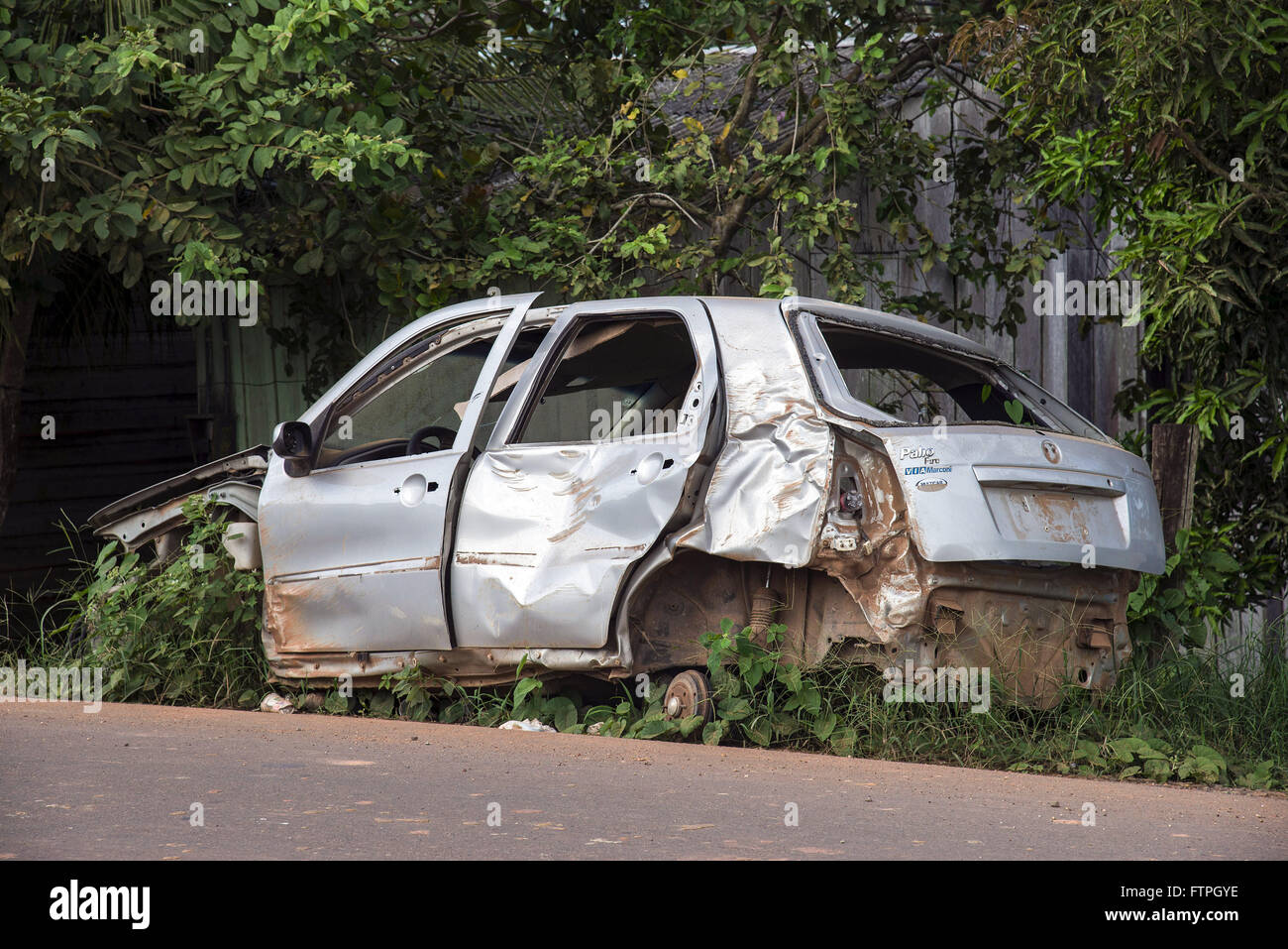 Vehicle abandoned by villager Gutierrez - Stock Image