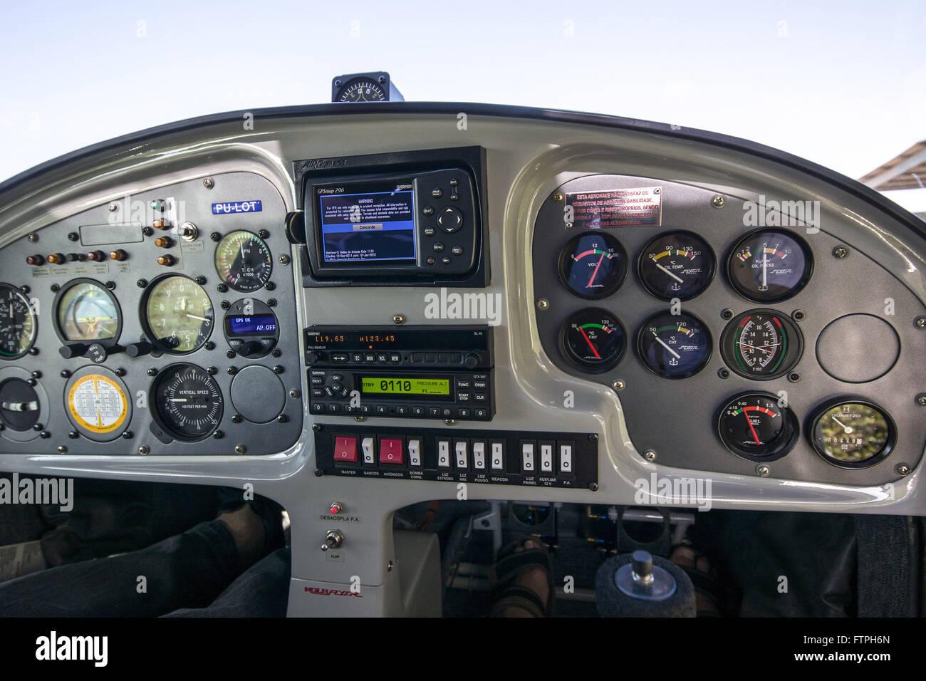 Twin-engine plane in panel Aerodromo Severino Lopes - Stock Image