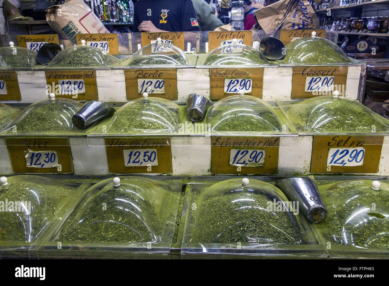 Mate banking bulk chimarrao for sale in Central Public Market - Stock Image