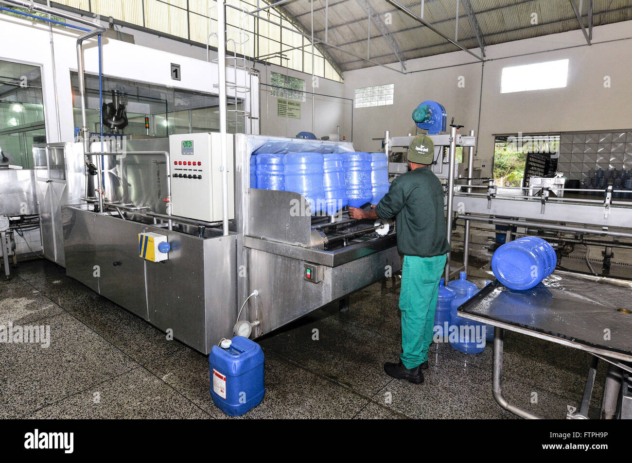 Production line for mineral water bottling company - Stock Image