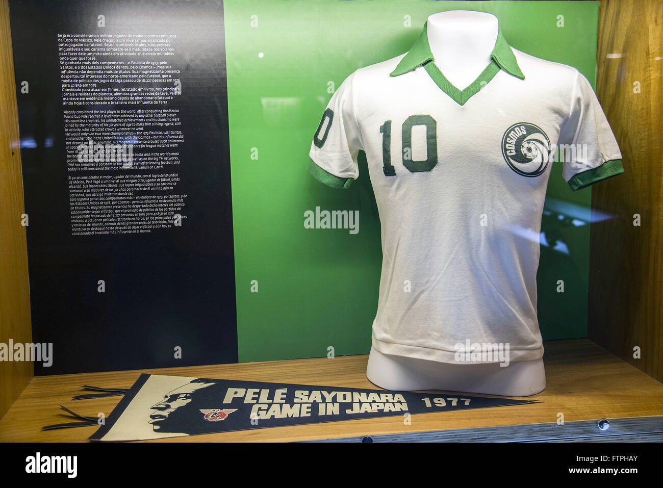 Shirt used by Pele football player in the American Cosmo time - Skin Museum - Stock Image
