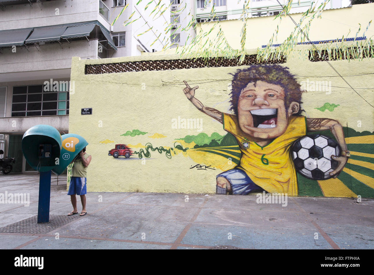 Wall Street in Cattete decorated for the 2014 FIFA World Cup - Stock Image