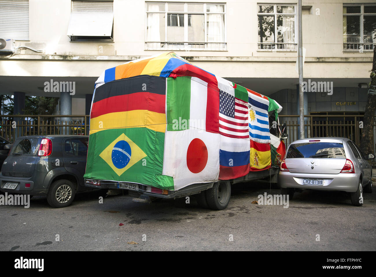German minibus parked on Oak Street Bulhoes during the 2014 FIFA World Cup - Stock Image