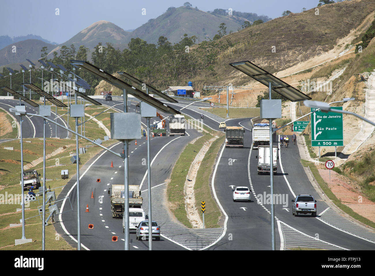 Solar plates on the edge of Highway ring road - Stock Image