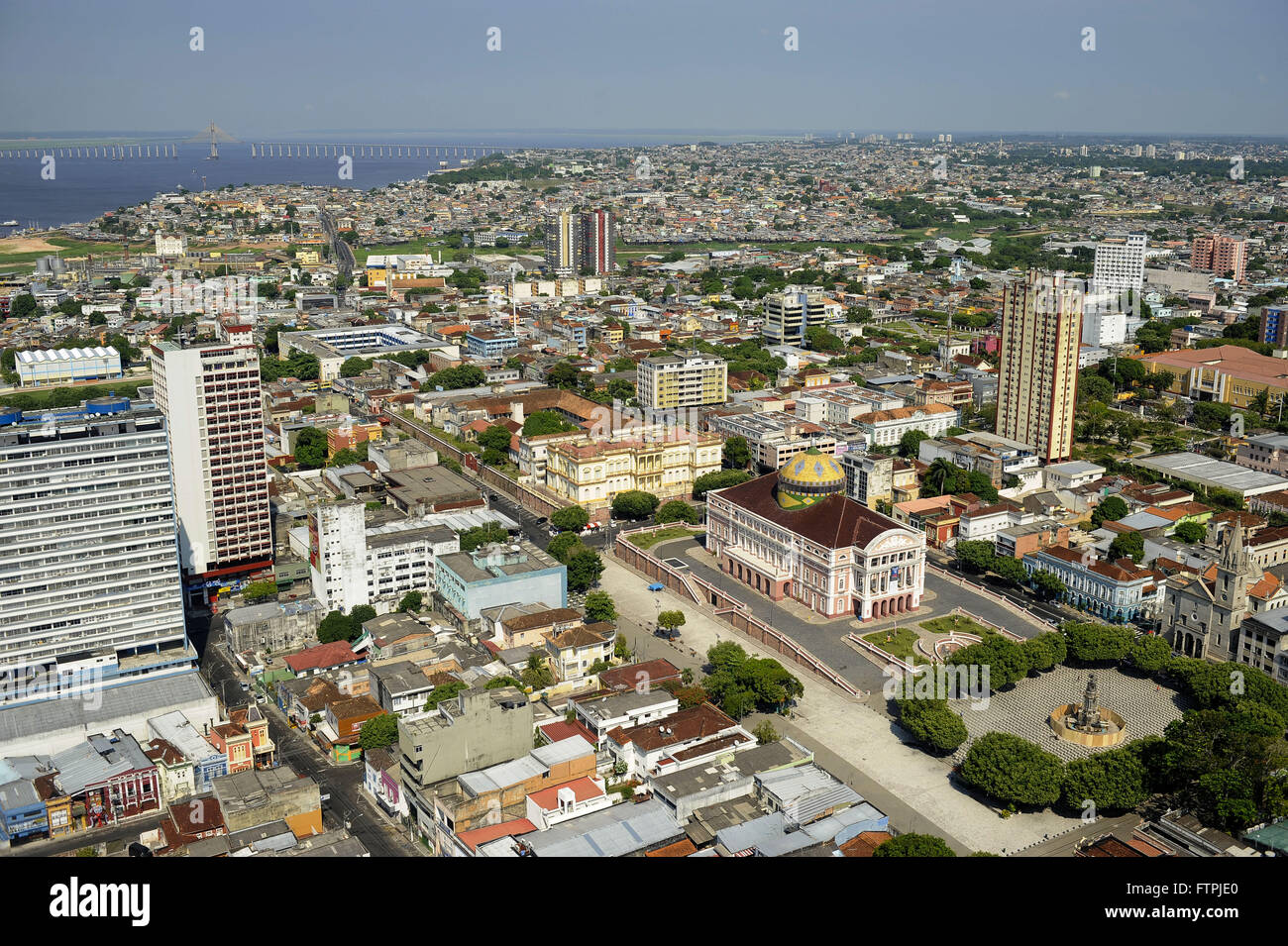 Aerial view of the Amazon Theater - built in 1896 during the rubber boom and the city of Manaus - Stock Image