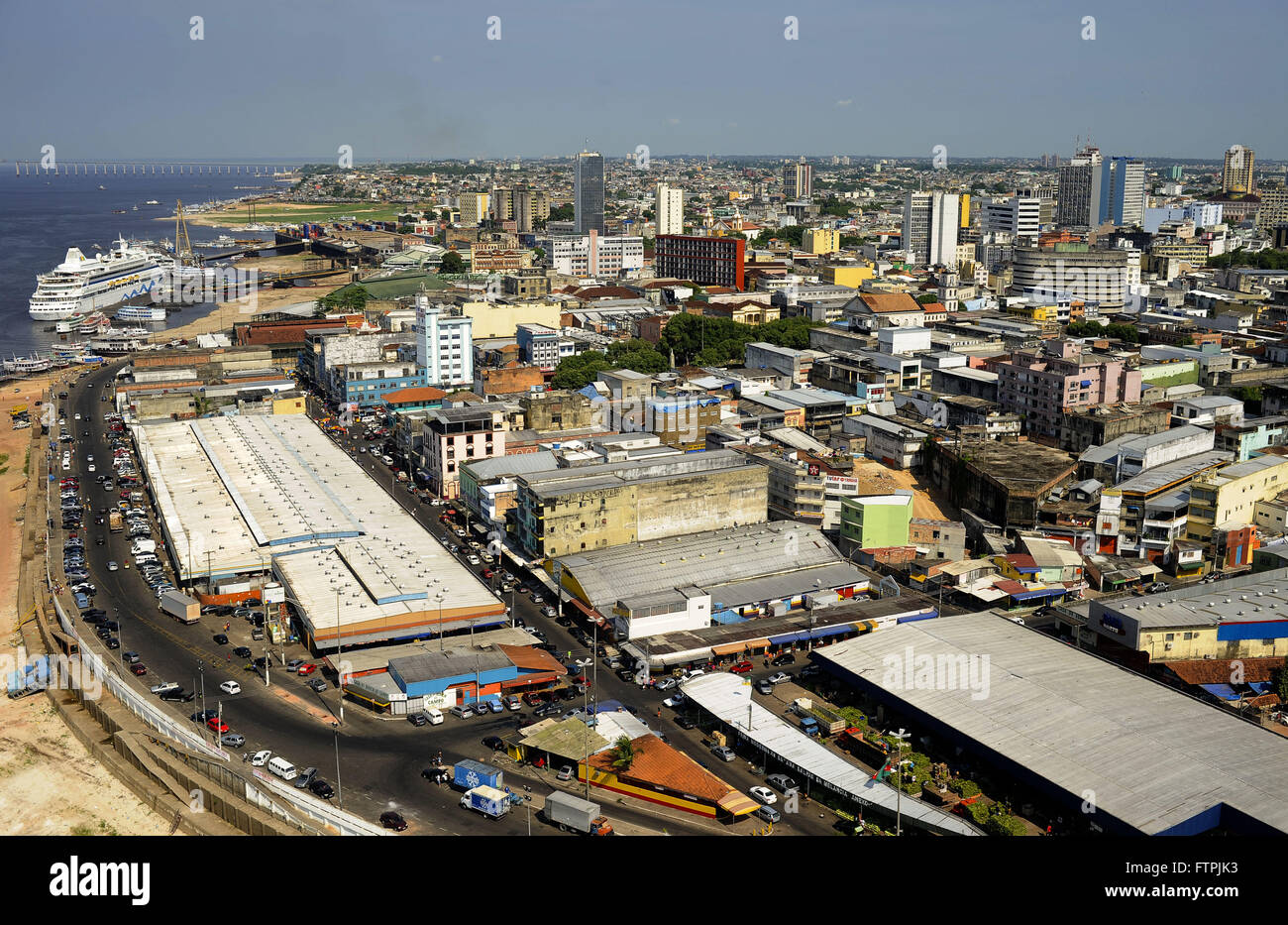 Aerial view of Manaus city center on the banks of the Rio Negro Stock Photo