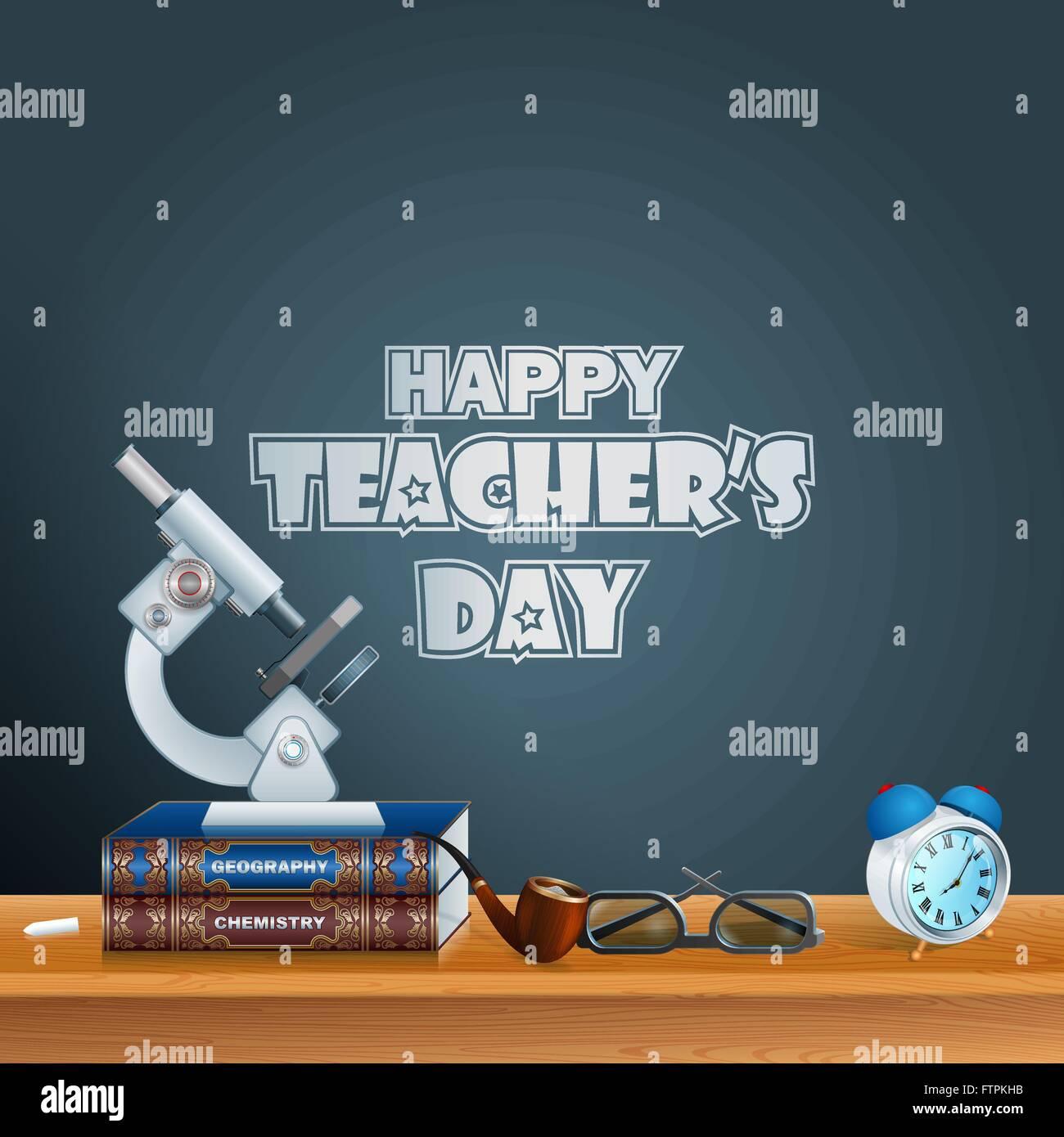 Happy Teacher S Day Template With School Books Microscope Eye