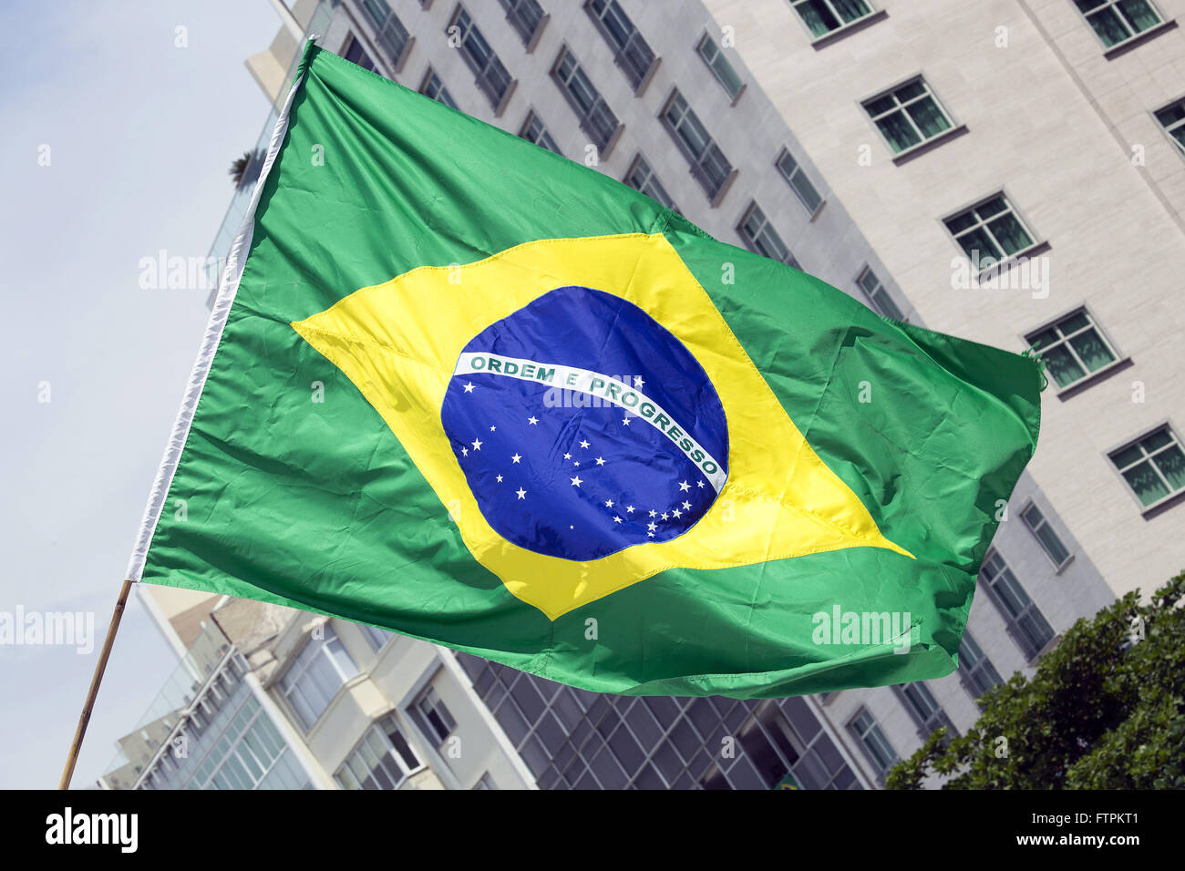 Brazil flag during a protest against corruption and against the government of President Dilma Rousseff - Stock Image