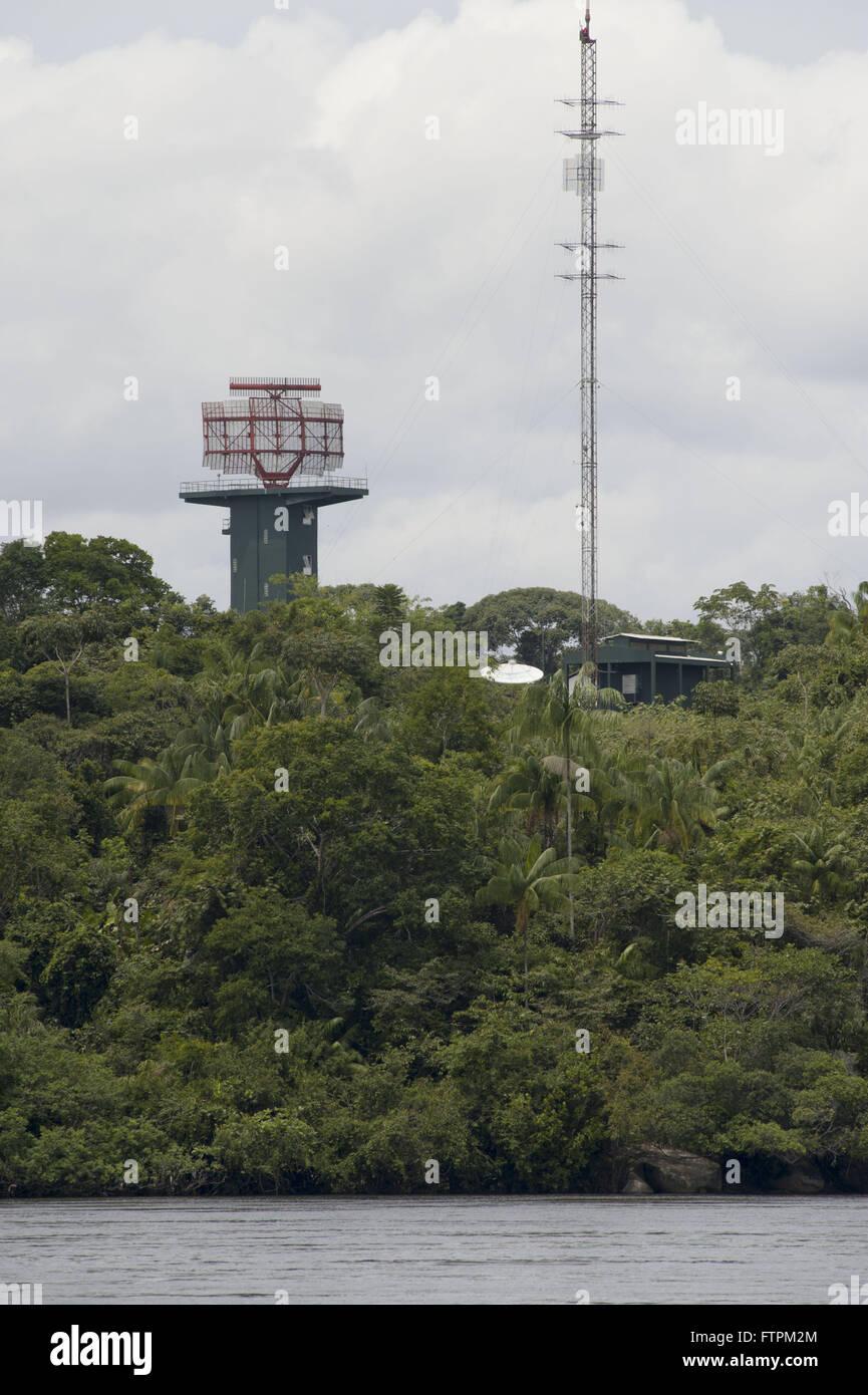 Radar and antenna SIPAM Sivam - the Amazon Surveillance System - Stock Image