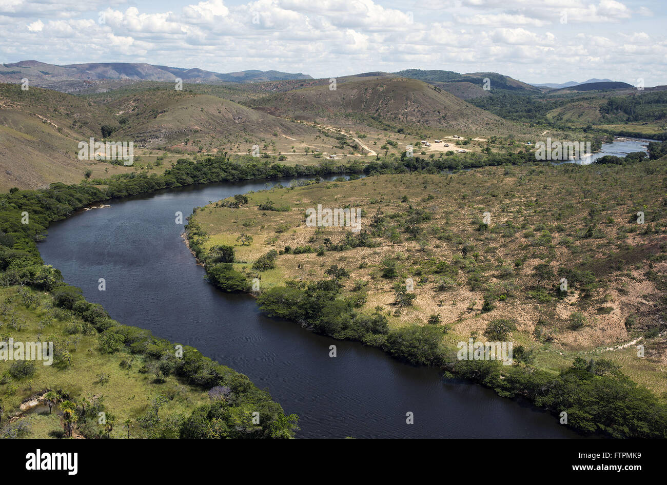 Rio Mau - natural border between Brazil and Guyana right to left - Stock Image