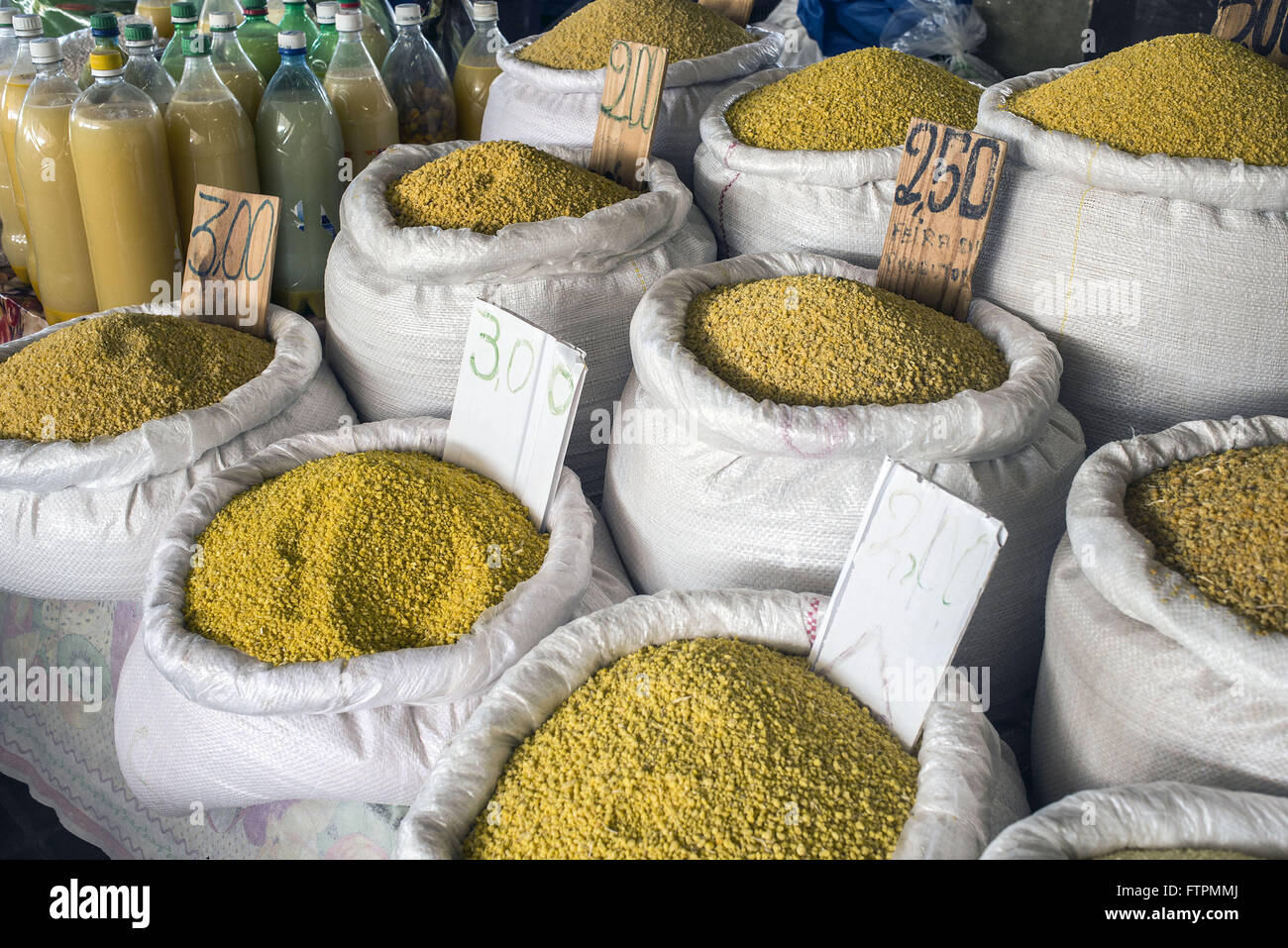 Cassava flour sale in bulk at the Farmer Fair - Market in the city center - Stock Image