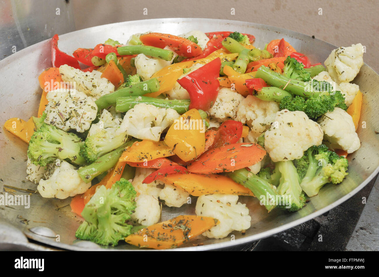 Mix vegetables au gratin with herbs - Stock Image