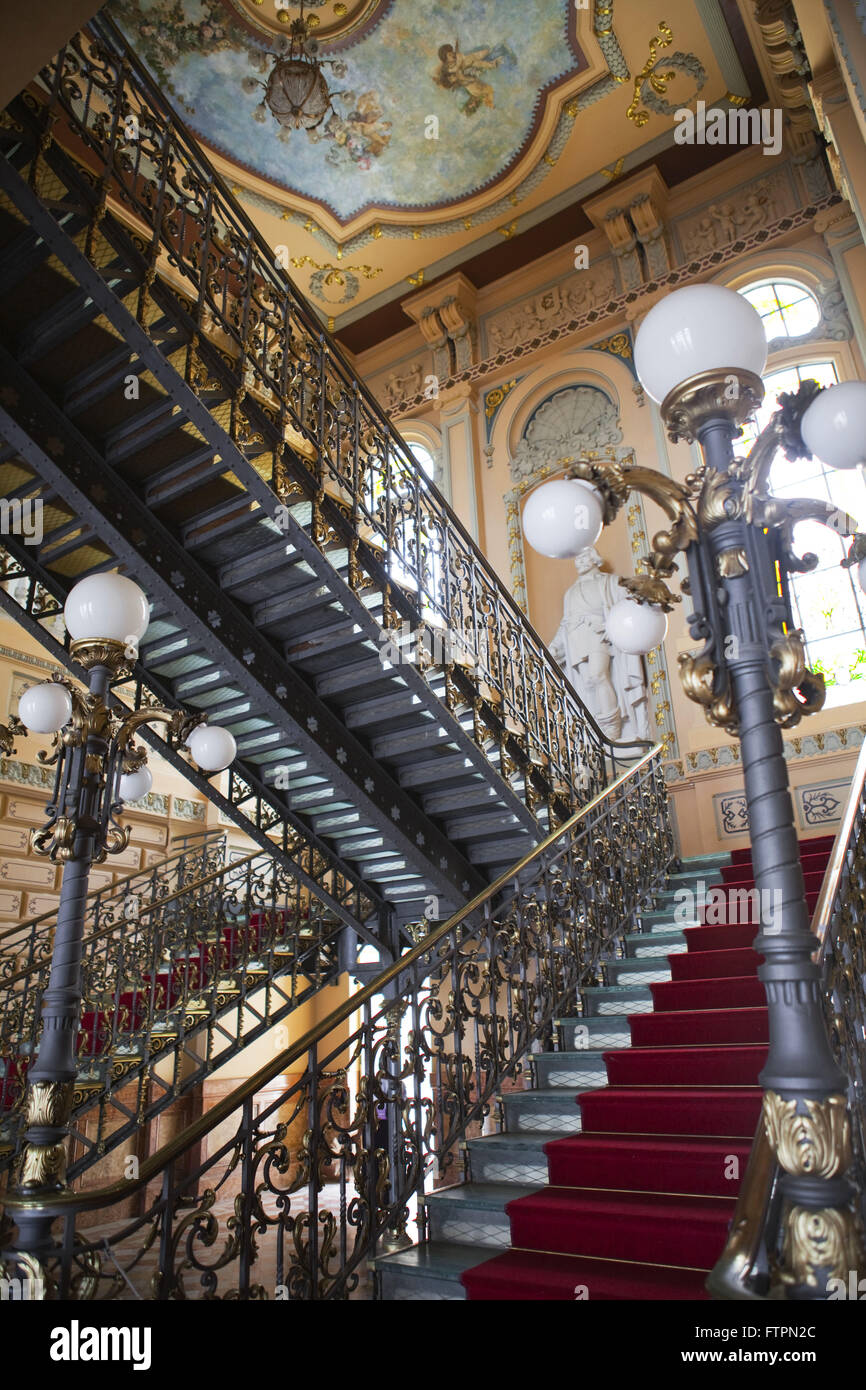 Staircase at the Memorial of the Rulers - Palacio Rio Branco - former seat of government of Bahia Stock Photo