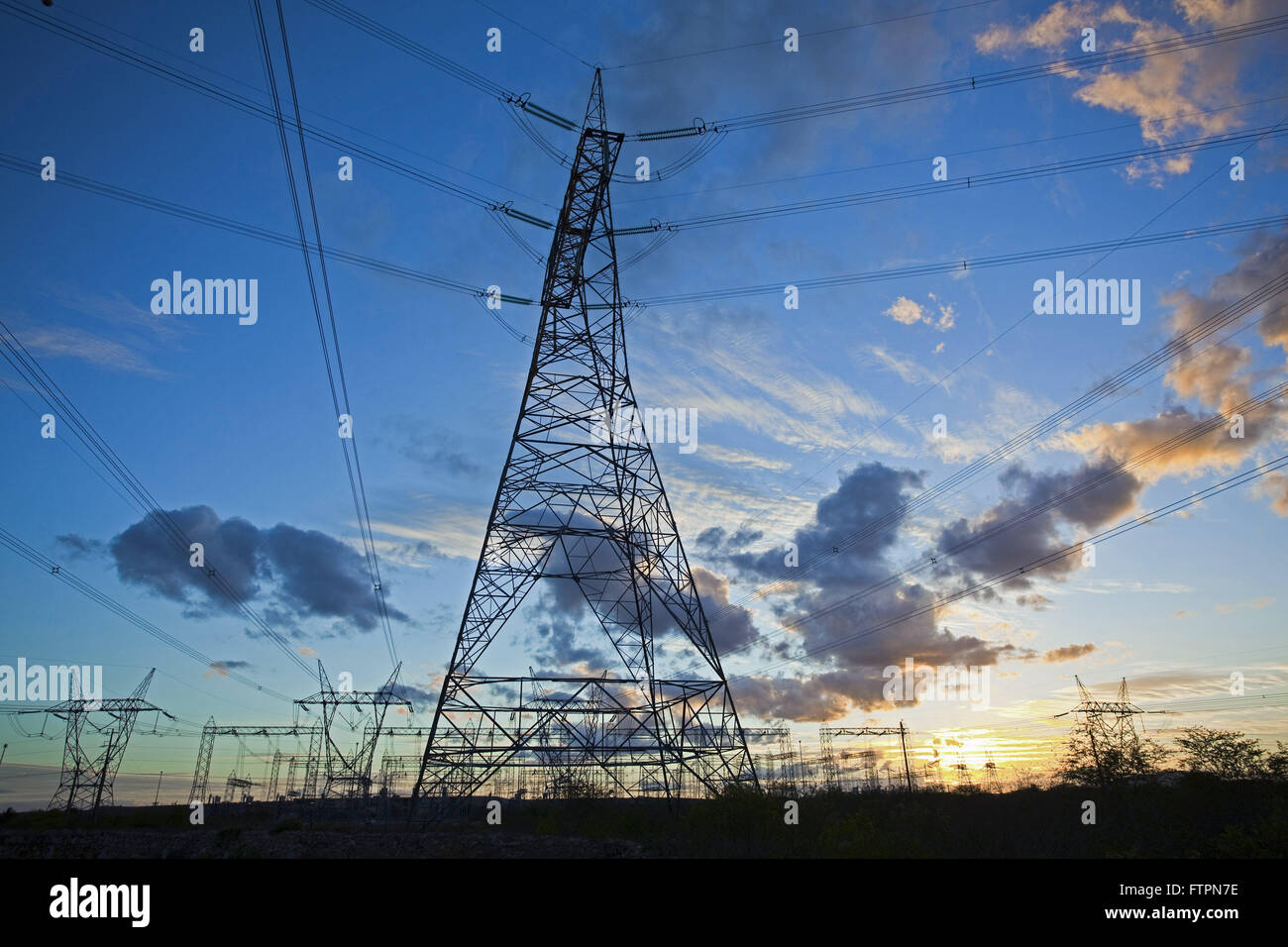 Towers for transmission of electric power generated in Paulo Afonso Hydroelectric Complex - Stock Image