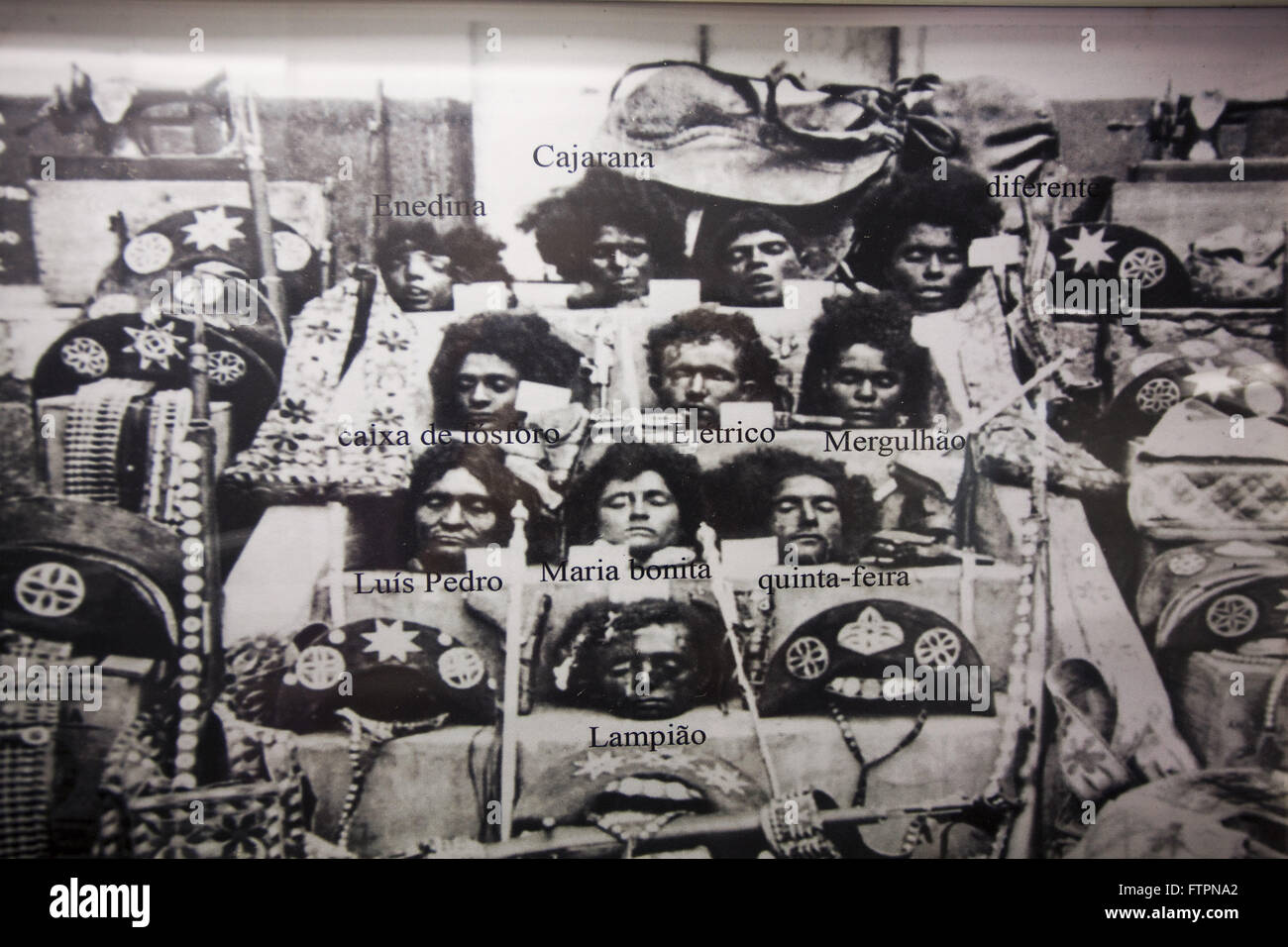 Reproducing photos of heads of the gang of bandits Lampiao exposed in the highwaymen Museum - Stock Image
