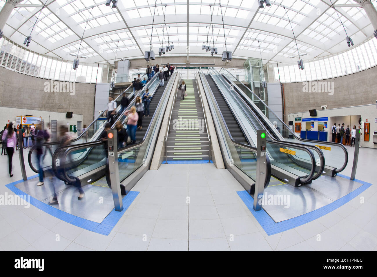 Escalator fall of Vila Prudente Metro - Green Line 2 - Stock Image