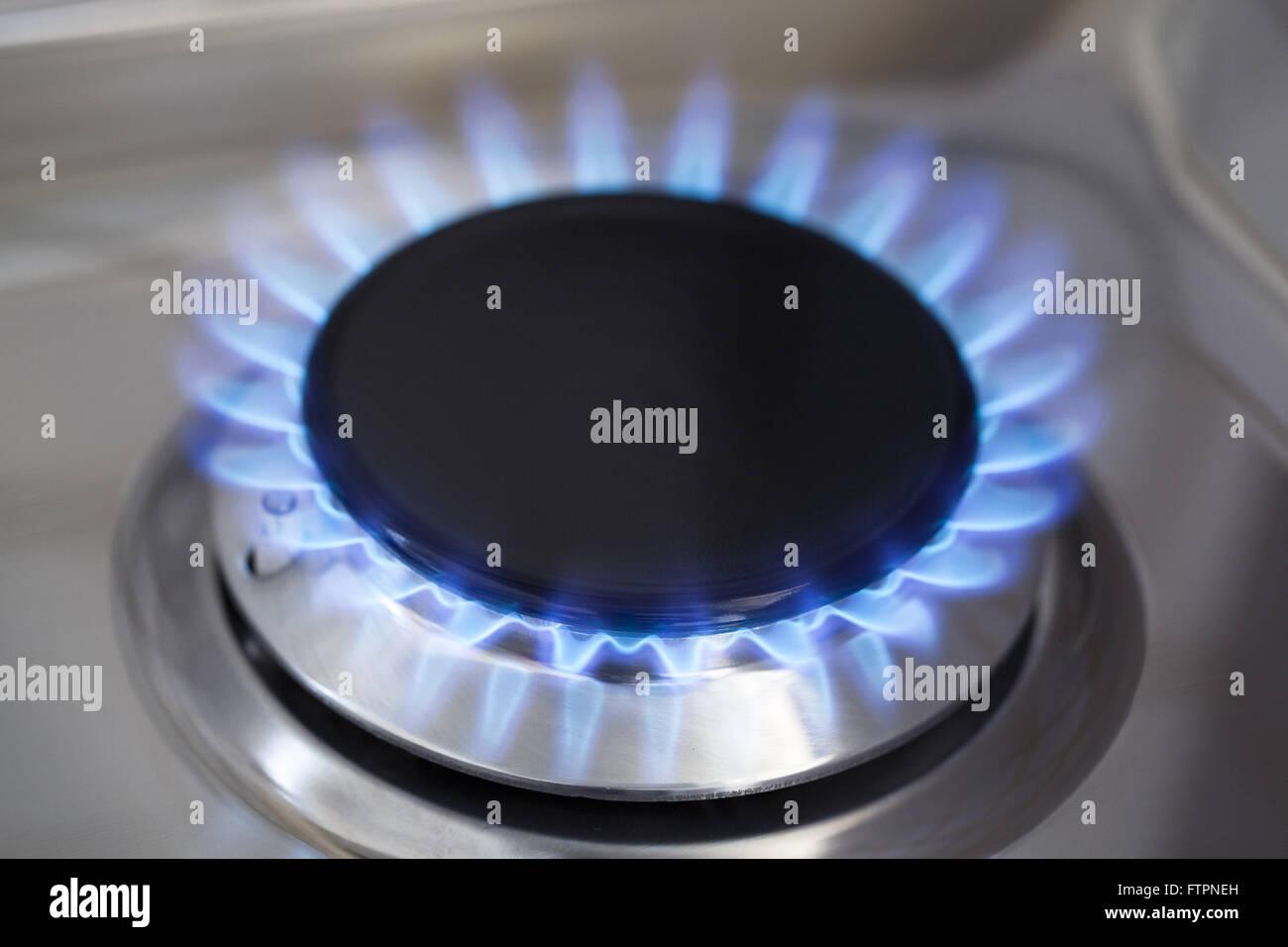 Flame burner gas stove - Stock Image