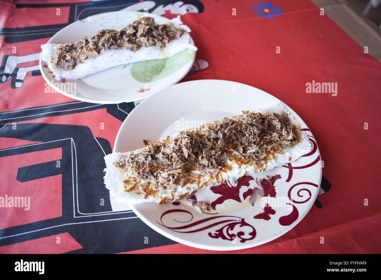 Tapioca with jerky - Northeastern typical food gum base cassava - Stock Image