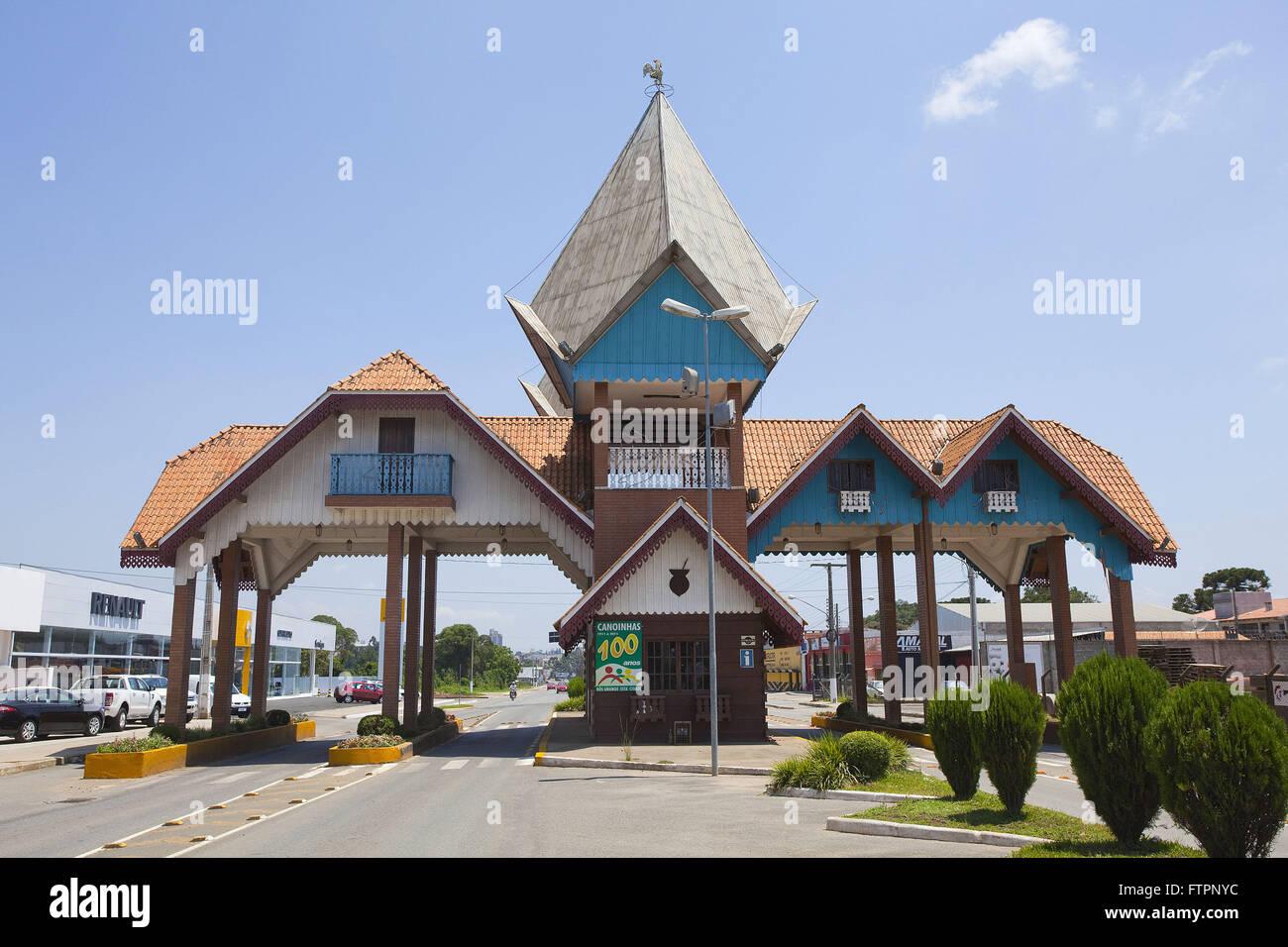 Portico visit the city built in the Slavic style - predominant colonization Stock Photo