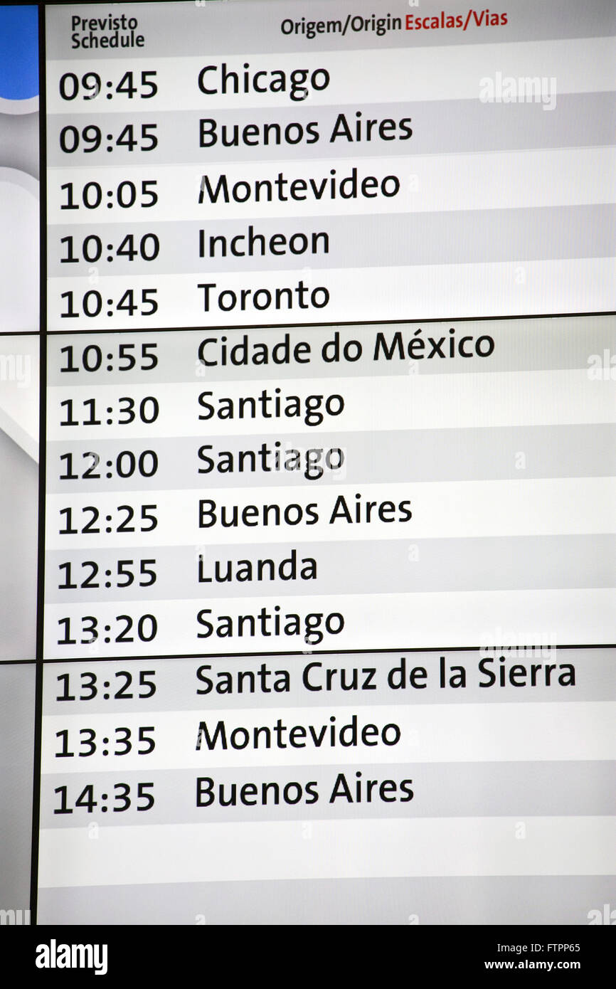 Panel informing schedule of arrival of flights from the international airport of Sao Paulo / Guarulhos - Stock Image