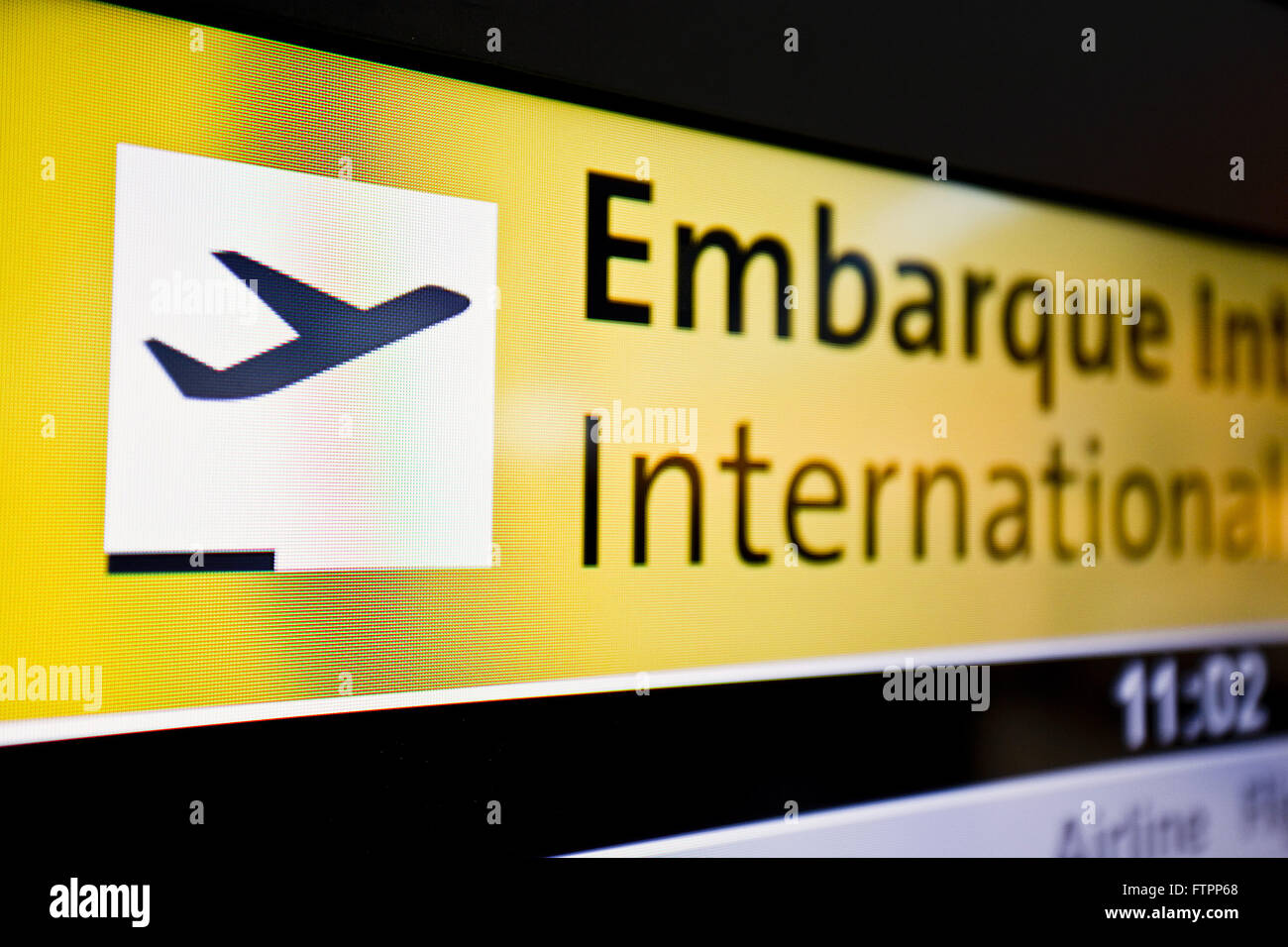 Panel informing schedule boarding flights from Sao Paulo / Guarulhos International Airport - Stock Image