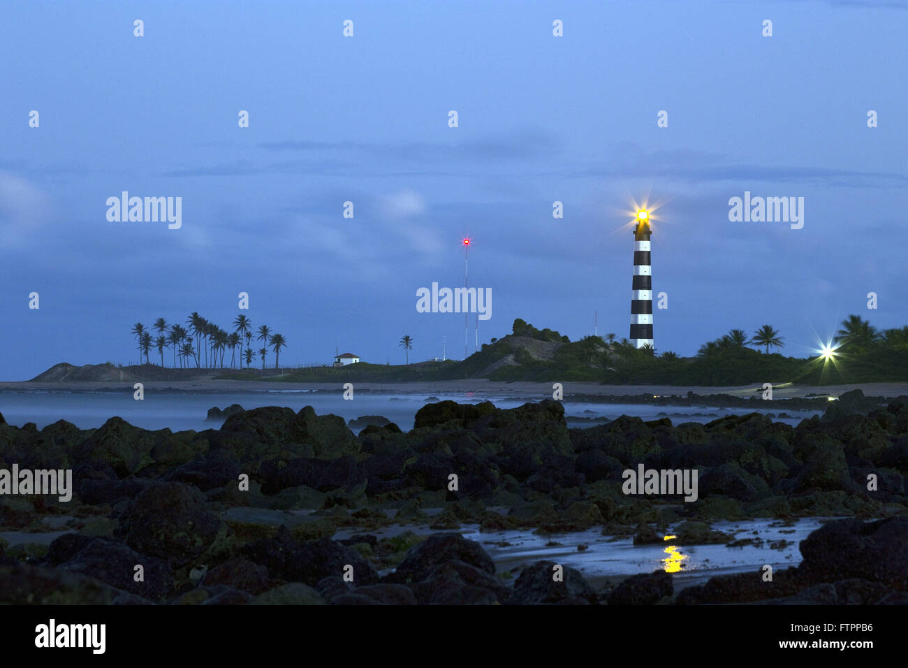 Heel Lighthouse also known as Bulls Lighthouse located in Ponta Heel - Stock Image