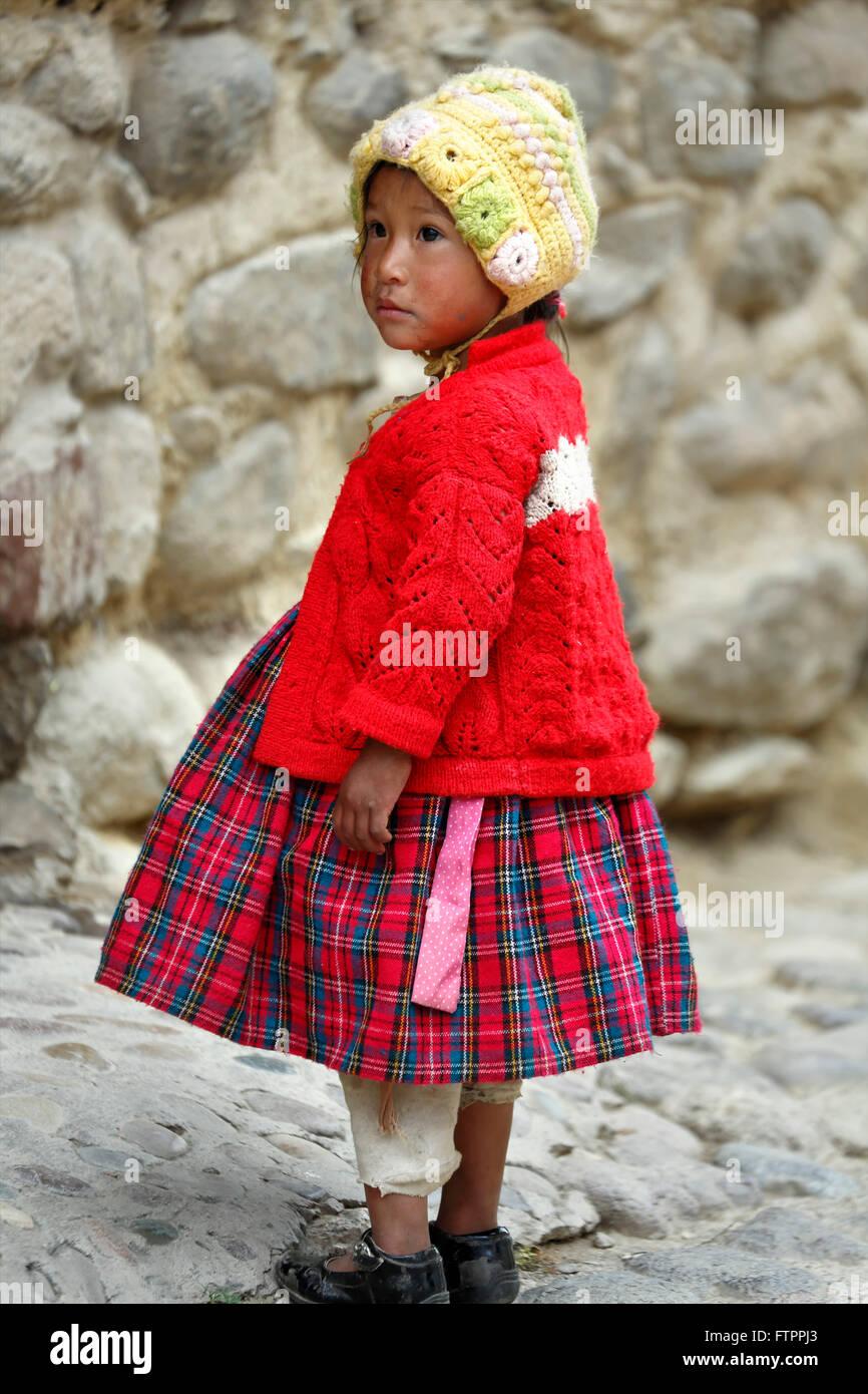 Quechua girl, Ollantaytambo, Cusco, Peru - Stock Image