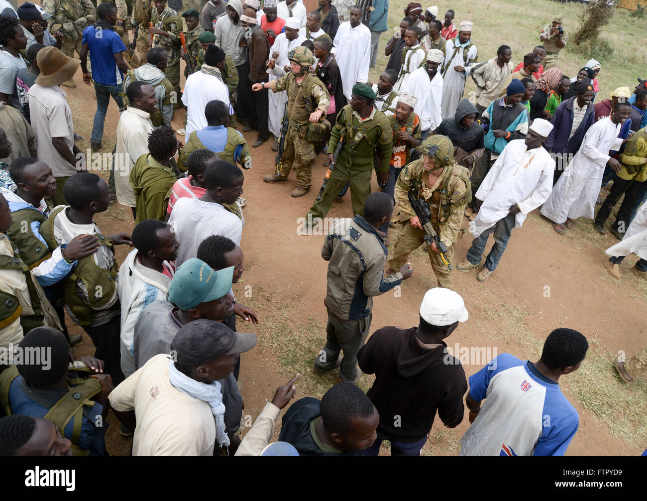 British Army training in crowd control in Kenya - Stock Image
