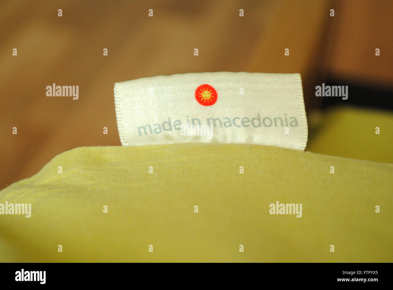 A 'Made in Macedonia' label on locally produced bedlinen. - Stock Image