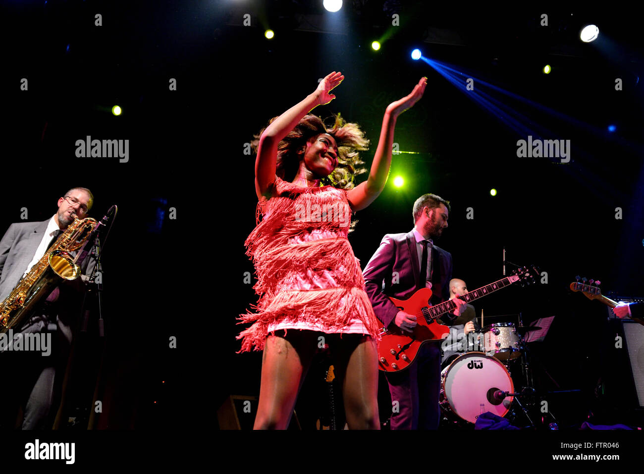 BARCELONA - JAN 9: The Excitements (soul band) performs at Apolo venue on January 9, 2015 in Barcelona, Spain. - Stock Image