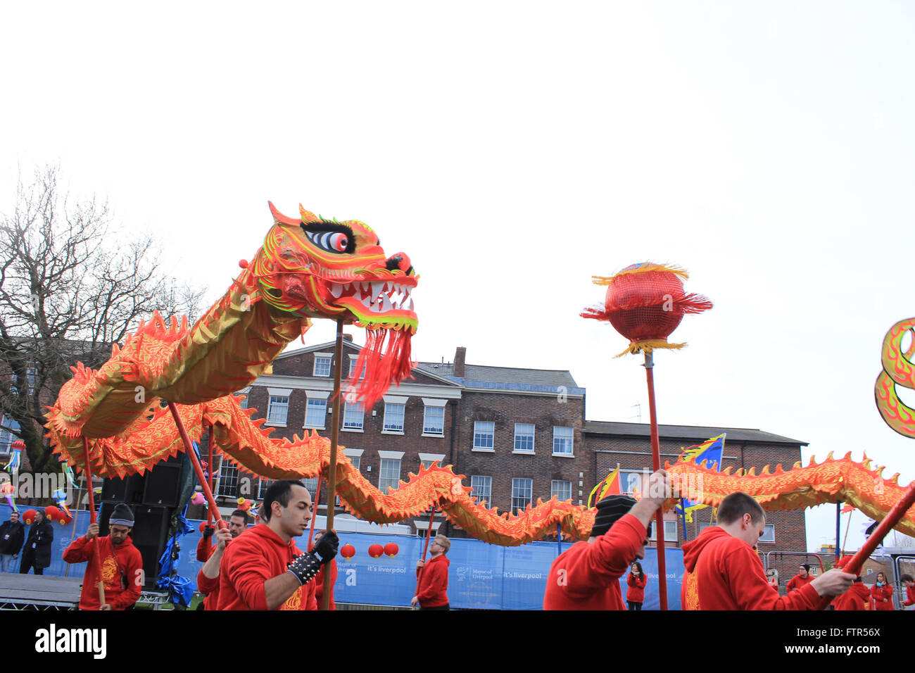 Chinese New Year In Liverpool Showing The Dragon During Parade